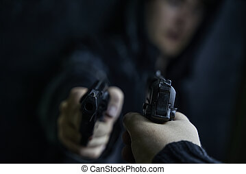 First-person view of hand with pistol pointed at guy with revolver.