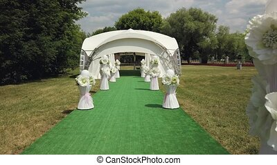 First-person view of the walk to the gazebo at the wedding...