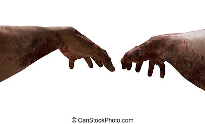 First person view of zombie hands on white background