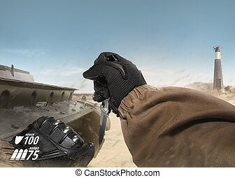 First person view soldier arm holding tactical knife.