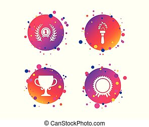 First place award cup icons. Prize for winner. Vector