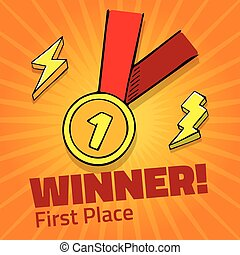 First place award gold medal with red ribbon on yellow background, vector icon with lightning