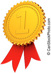 First place award golden red ribbon