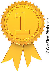 First place award ribbon golden