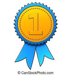 First place award ribbon (Hi-Res) - Shiny blue ribbon with...