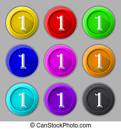 First place award sign. Winner symbol. Step one. Set of coloured buttons.