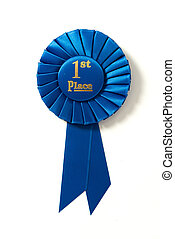 A first place blue ribbon on a white background