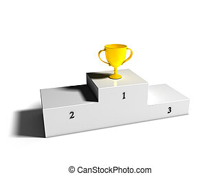 First place Cup on Podium - Golden cup on first place podium
