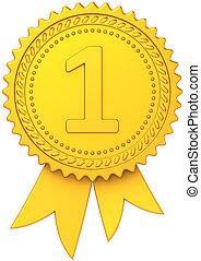 First place golden award ribbon - First place winner golden...