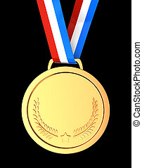 First place - Golden champion  medal over black background