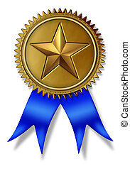 First Place golden seal with gold star rating award and blue...