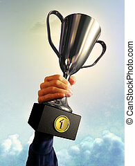 First place - Male hand holding a trophy. Digital...
