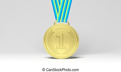 First place medal - 3D rendering first place medal on...