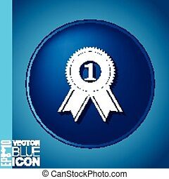 first place ribbon rosette icon. victory icon