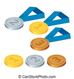 First place, second place and third place. Set of gold, silver and bronze symbols. Flat 3d vector isometric illustration.