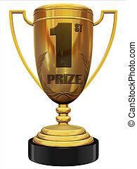 first prize 3d trophy illustration