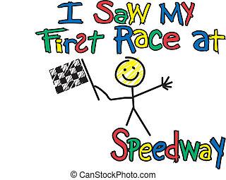 first race t-shirt design Vector