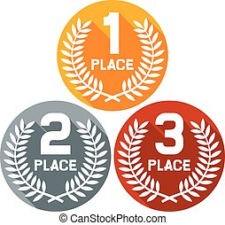 first, second and third place
