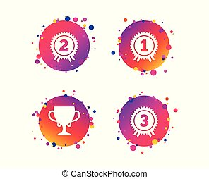 First, second and third place icons. Award medal. Vector