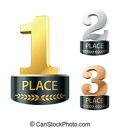 First, second and third places - Vector illustration of...