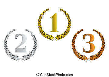 first second and third prize 3d laurels isolated on white ...