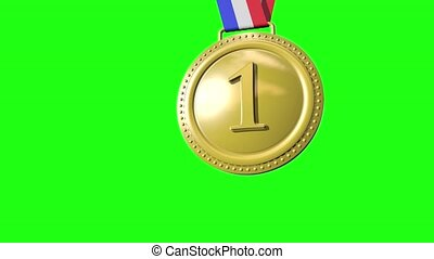 First Second Third Medals on Green