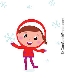 First snow: cute winter Child holding Snowflake