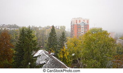 First Snow Fall in the City, Winter Scene