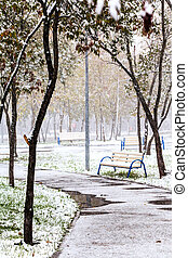first snow in city park in autumn