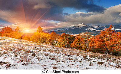 First snow in the Carpathian mountains. Svydovets ridge,...