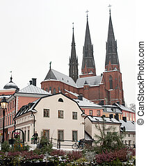 First snow in the medieval part of Uppsala, Sweden