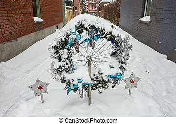 First snow storm of the season hits Montreal, Canada.