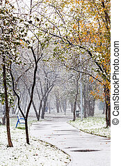 first snowfall in urban park in autumn