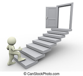 3d render of man climbing on stair. Concept of first step for career growth.