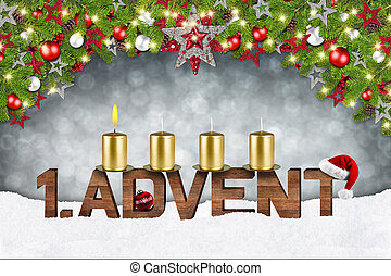 first sunday in advent concept xmas background with candles...