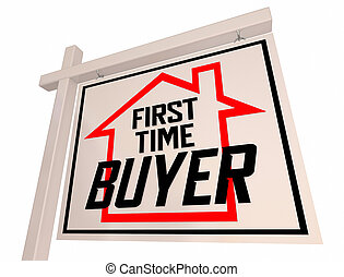 First Time Buyer Home House For Sale Sign New Owner 3d Illustration