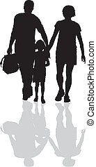 First Time In School - vector illustration man, woman and ...