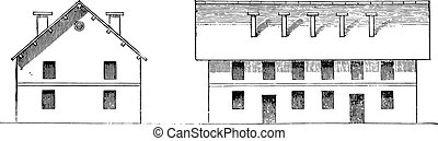 First type of sixteenth and seventeenth centuries barracks, vintage engraved illustration. Industrial encyclopedia E.-O. Lami - 1875.