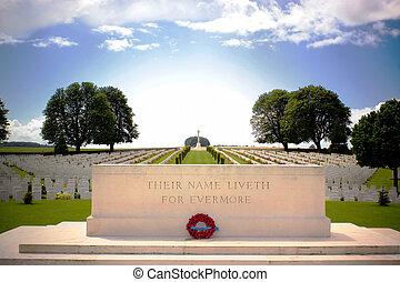 First World War Cemetery near Arras, Northern France -...