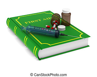firstaid book on white background. Isolated 3D illustration