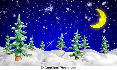 firtrees, scène, winter, klei