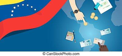 fiscal, carte, concept, financier, banque, argent, économie, budget, illustration, commercer, monnaie, drapeau, venezuela