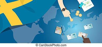 fiscal, carte, concept, financier, banque, argent, budget, illustration, commercer, monnaie, drapeau, suède