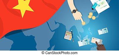 fiscal, carte, concept, financier, banque, argent, budget, illustration, commercer, monnaie, drapeau, vietnam, économie