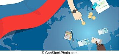 fiscal, carte, concept, financier, banque, argent, budget, illustration, commercer, monnaie, drapeau, russie