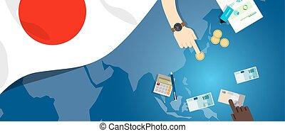 fiscal, carte, concept, financier, banque, argent, budget, illustration, commercer, monnaie, drapeau, japon