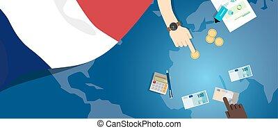 fiscal, carte, concept, financier, banque, argent, budget, illustration, commercer, monnaie, drapeau, france, économie