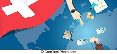 fiscal, carte, concept, financier, banque, argent, budget, illustration, commercer, monnaie, drapeau, suisse, économie