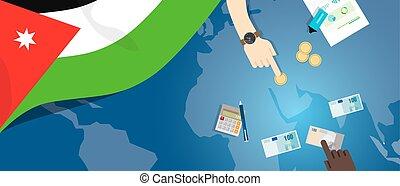 fiscal, carte, concept, financier, banque, argent, budget, illustration, commercer, monnaie, drapeau, jordanie