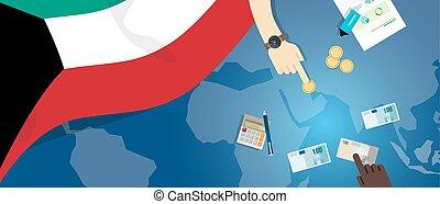 fiscal, carte, concept, financier, banque, koweït, budget, illustration, commercer, monnaie, drapeau, argent, économie